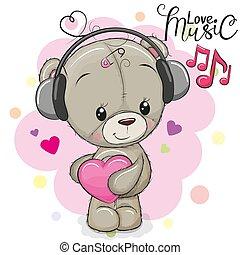 Cute Teddy Bear with headphones