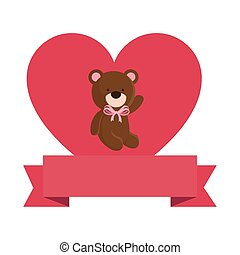 cute teddy bear with heart and ribbon