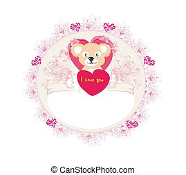 Cute Teddy bear with heart frame