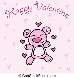 Cute Teddy Bear with hearts background