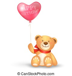 Cute teddy bear with in heart shape balloons