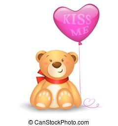 Cute teddy bear with in heart shape balloons