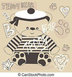cute teddy bear with paw