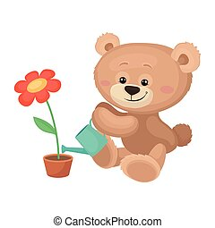 Cute teddy bear with pink cheeks and shiny eyes watering blossoming flower. Plush children toy. Flat vector icon