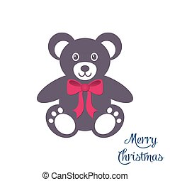 Cute teddy bear with red bow