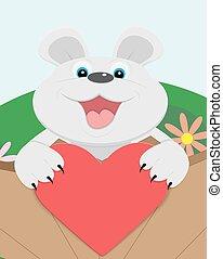 Cute Teddy bear with red heart.