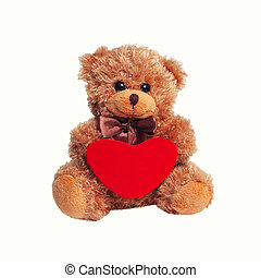 Cute teddy bear with red heart on a white background