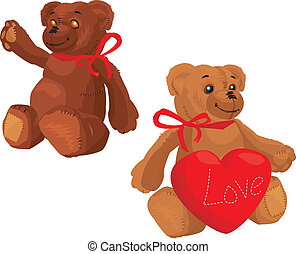 Cute Teddy Bear with red love heart