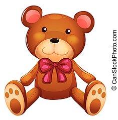 Cute teddy bear with red ribbon