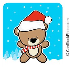 cute teddy bear with santa hat