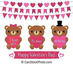 Cute teddy bears for Valentines Day