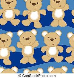 Cute teddy bears in a seamless pattern