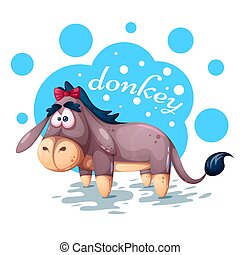 Cute teddy donkey - funny illustration.