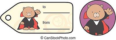 cute teddy dracula cartoon giftcard