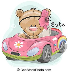 Cute Teddy Girl goes on the car - Cute Cartoon Teddy Bear...