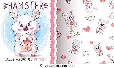 Cute teddy hamster - seamless pattern