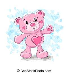 Cute teddy with hearts cartoon.