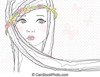 Cute teen girl, flowers background