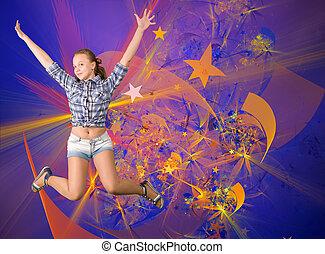 Cute teen girl having fun party