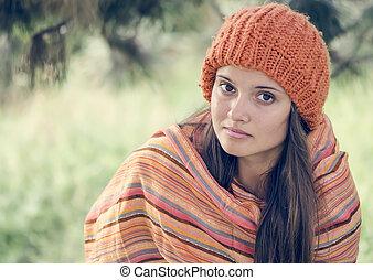 cute teen girl in autumn