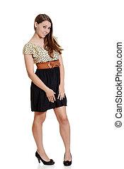 cute teen girl in polka dot dress