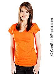 cute teen girl over white background