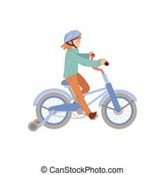 Cute teen or pre-teen girl ride a 4 wheel bike in a helmet, doing sport summer activities. Smiling happy girl on a bicycle, vector illustration, isolated on white background.