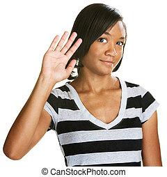 Cute Teen Waving - Single cute teenage female waving her...