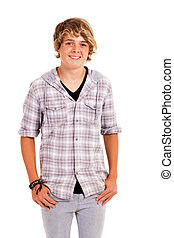 cute teenage boy studio portrait isolated