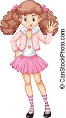 Cute teenage girl in pink costume