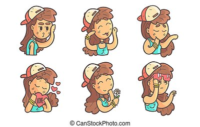 Cute Teenage Girl with Different Facial Expressions Set Vector Illustration