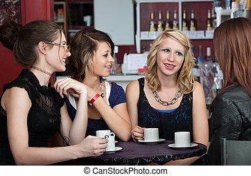 Cute Teenaged Girls - Four cute teenaged girls talk at a...