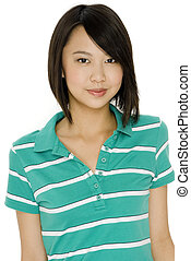 Cute Teenager - An attractive asian teenage girl in green...