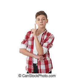 Cute teenager boy over white isolated background - Cute...