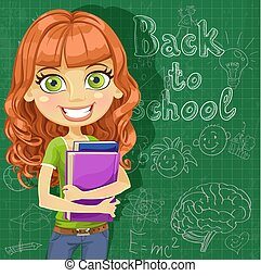 Cute teenager girl at blackboard - cute teenager girl at the...