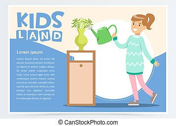 Cute teenager girl character watering flowers in vase. Kid helping with housekeeping and doing house cleanup. Flat style cartoon vector illustration.