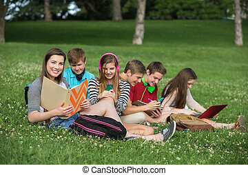 Cute Teens Studying