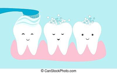 Cute teeth cartoon vector. Tooth brushing concept illustration.