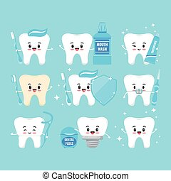 Cute teeth with oral hygiene products icons set isolated on white background.