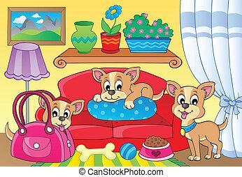 cute, tema, 2, cão, imagem