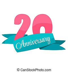Template 20 years anniversary congratulations vector illustration eps10.