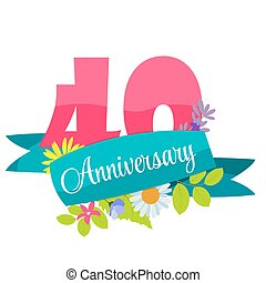 Template 40 years anniversary congratulations vector clipart cute template 40 years anniversary sign vector illustration pronofoot35fo Image collections