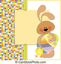 Cute template for Easter greetings card