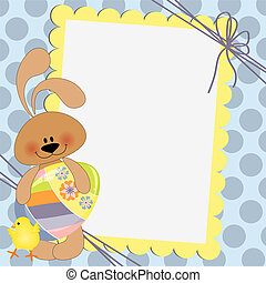 Cute template for Easter postcard - Cute template for Easter...