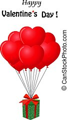 Cute template Valenines day with gift and balloons