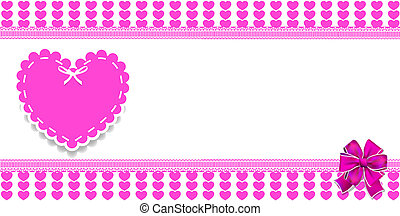 Cute template with pink hearts pattern and festive ribbon