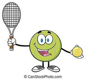 Cute Tennis Ball Player Cartoon Character Holding A Tennis...