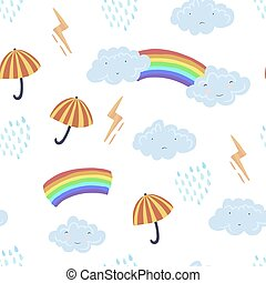 Cute textured cartoon pattern with weather element