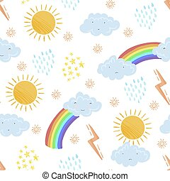 Cute textured cartoon weather elements pattern