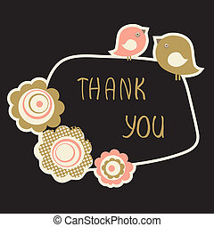 Cute Thank You Card with birds couple and flowers. Vintage pastel colored vector illustration.